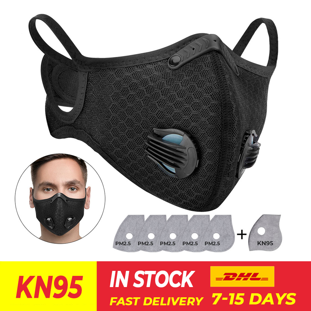 KN95 Motorcycle Mask Dust Face Masks Respirator PM2.5 Replaceable Filters Anti Pollution Cycling Outdoor Sport Mask Reusable|Motorcycle Face Mask| |  - title=