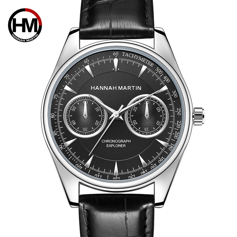 2019 Hannah Martin Top Luxury Brand Fashion Creative Quartz Men Wrist Watch Leather Casual Waterproof Calendar Clock Male