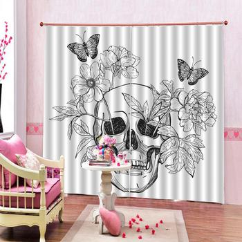 Custom Curtains Painted weird avatars of black and white flowers Curtains Decoration European Curtains For Living room Blackout