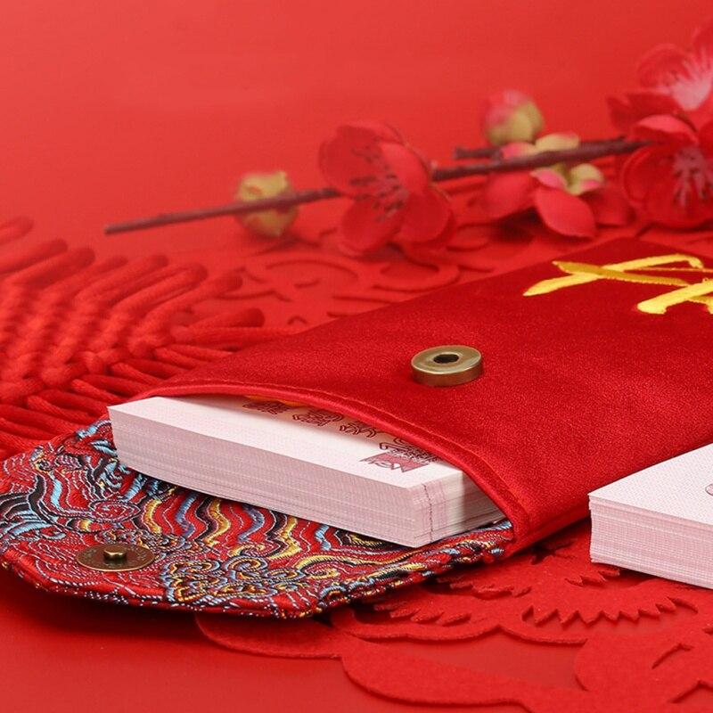 Chinese Nieuwe Jaar Rode Envelop Vullen In Geld Chinese Traditie Hongbao Gift Aanwezig Bruiloft Doek Rode Envelope1 - 6