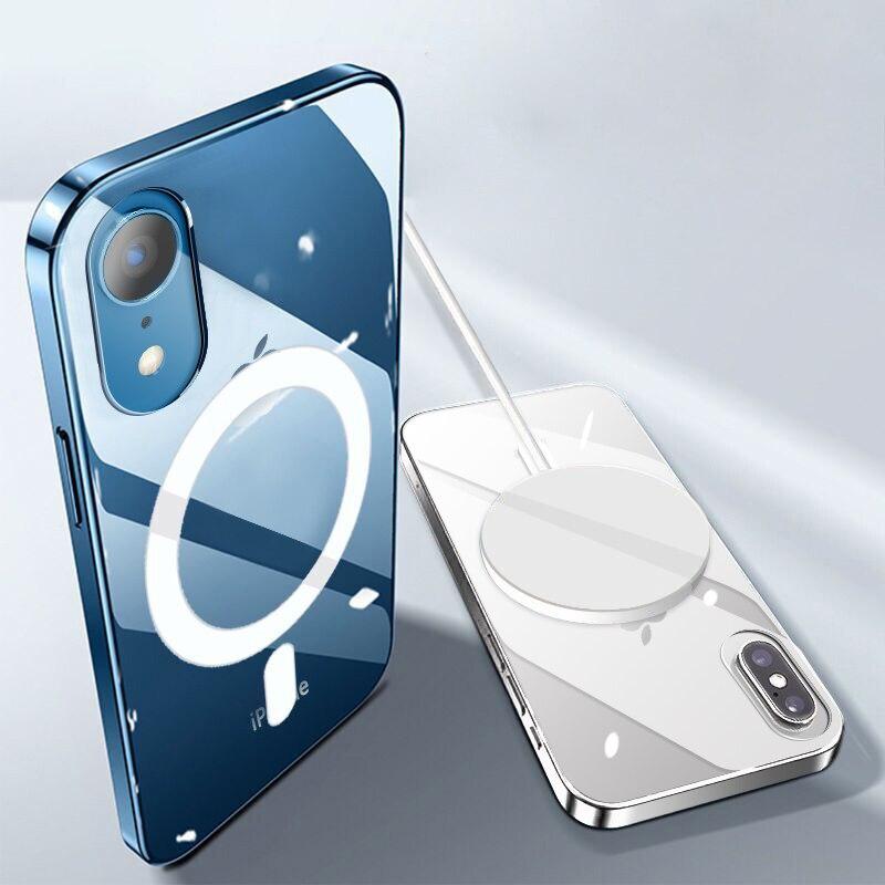 Магнитный чехол для телефона iPhone XR XS Max MagSafe, беспроводной ударопрочный защитный чехол с полной защитой
