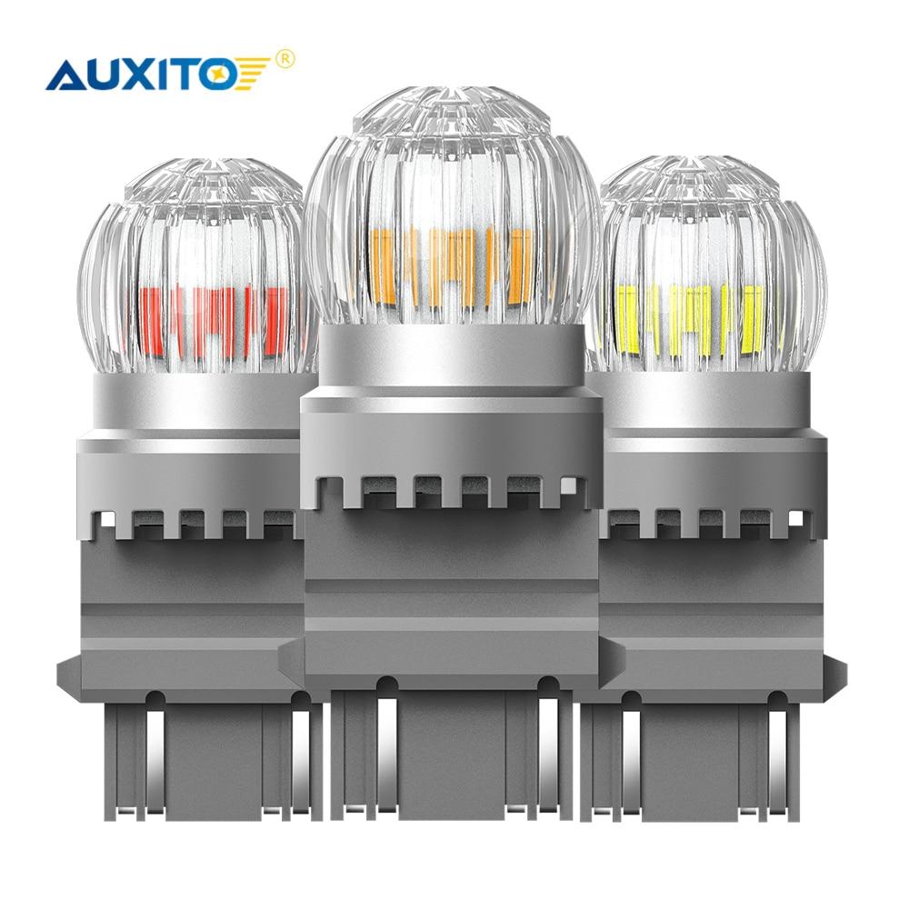 AUXITO 2 шт. T25 3157 P27W P27/7W светодиодный Янтарный Белый Красный 3030SMD 3156 светодиодный светильник для DRL автомобильный стоп-сигнал обратный стояночн...