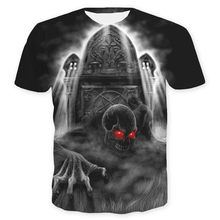 Graveyard Skeleton 3D Digital Print skull T-shirt Halloween Costume Women Men Cosplay Anime summer clothes black tops & tees