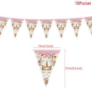 Image 4 - Tęczowa opaska jednorożec banery papierowe jednorożec dekoracje na imprezę urodzinową dla dzieci impreza jednorożec wiszące Garland flagi przybory dla niemowląt