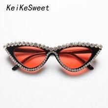 Keikesweet Cat-Eye-Sunglasses Crystal Rhinestone Cool Vintage Designer Fashion Women