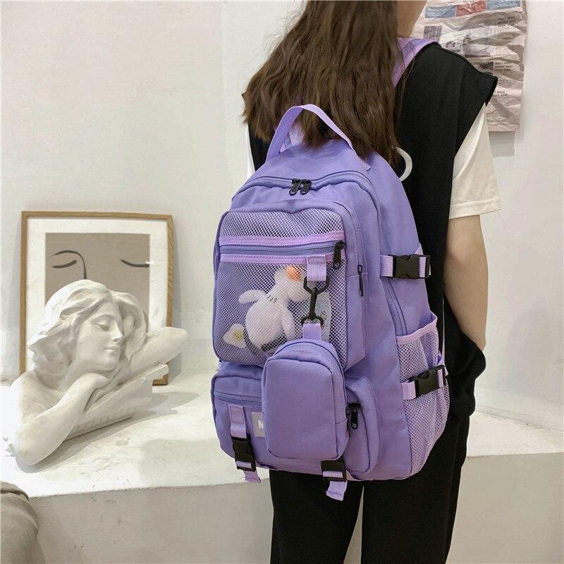 Женский школьный рюкзак в Корейском стиле Харадзюку, студенческий рюкзак с большой емкостью, мужской рюкзак для путешествий, сумки для пары, Sac A Dos|Рюкзаки|   | АлиЭкспресс