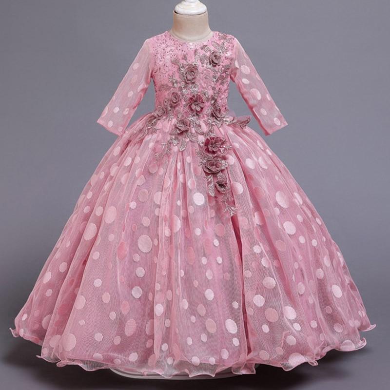 Кружевные платья для девочек с цветочным рисунком и длинным шлейфом; элегантные платья невесты; бальное платье; вечернее платье; платья для первого причастия; Vestido Comunion - Цвет: pink