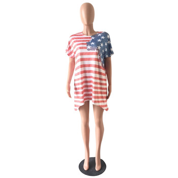 Women Sexy Casual Short Sleeve O-Neck National Flag Print Mini Dress Summer Loose Plus Size Asymmetrical Above Knee Dresses 3