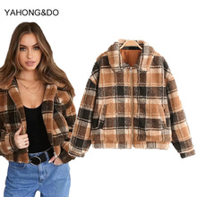 Women Faux Fur Blend Warm Jacket Brand Winter Coat Turn-down Collar Pocket Casual Zipper Jumper Yellow Plaid Print Lamb