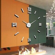 3D DIY 벽시계 Frameless 큰 현대 예술 벽시계 가정 훈장 음소거 거울 벽 아크릴 스티커 거실 Bedroo