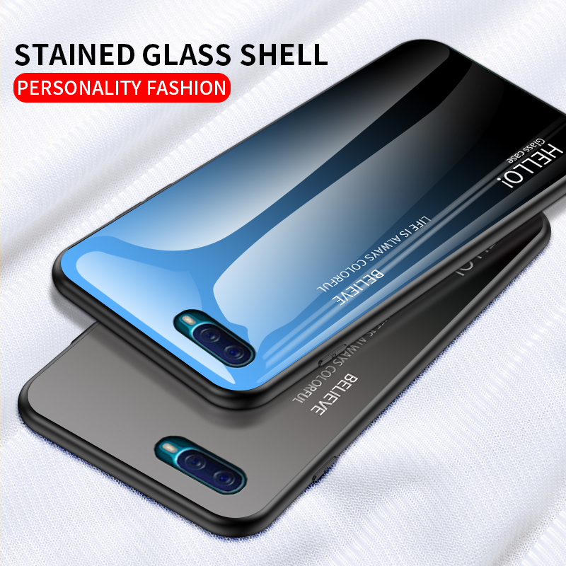 Gradient Tempered Glass Case For OPPO Reno A Phone Case Hard Glass Back Cover For OPPO RenoA Shockproof Coques