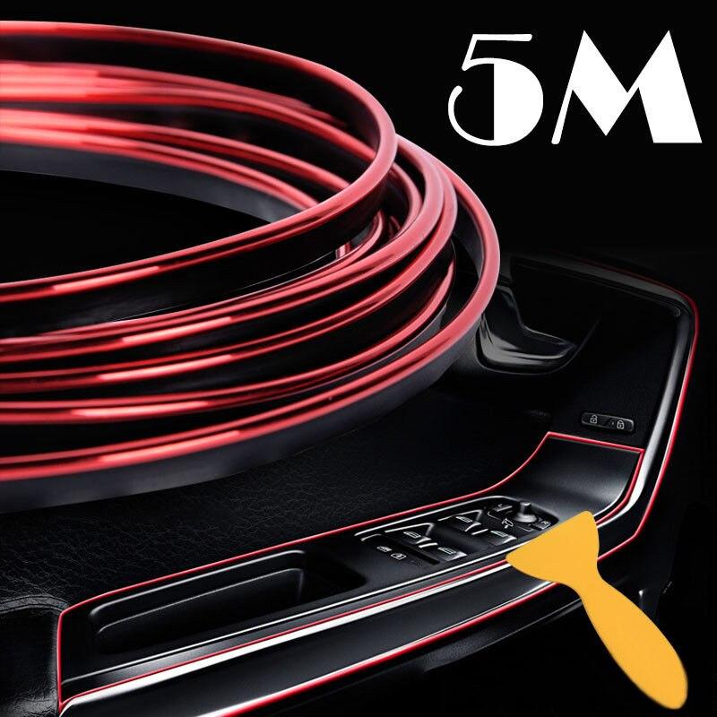 Rouge voiture style bande garniture autocollants intérieurs portes autocollants ligne de moulage