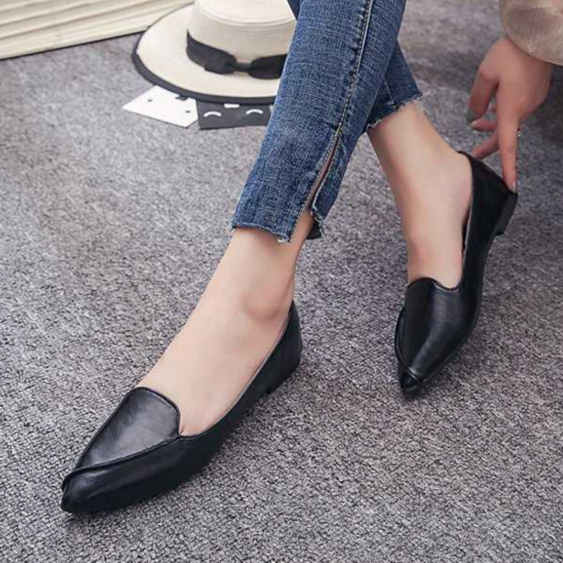 Marlisasa Women Fashion Pointed Toe Black Pu Leather Slip On Loafers Ladies Classic Brown Summer Office Shoes & Flats H5962
