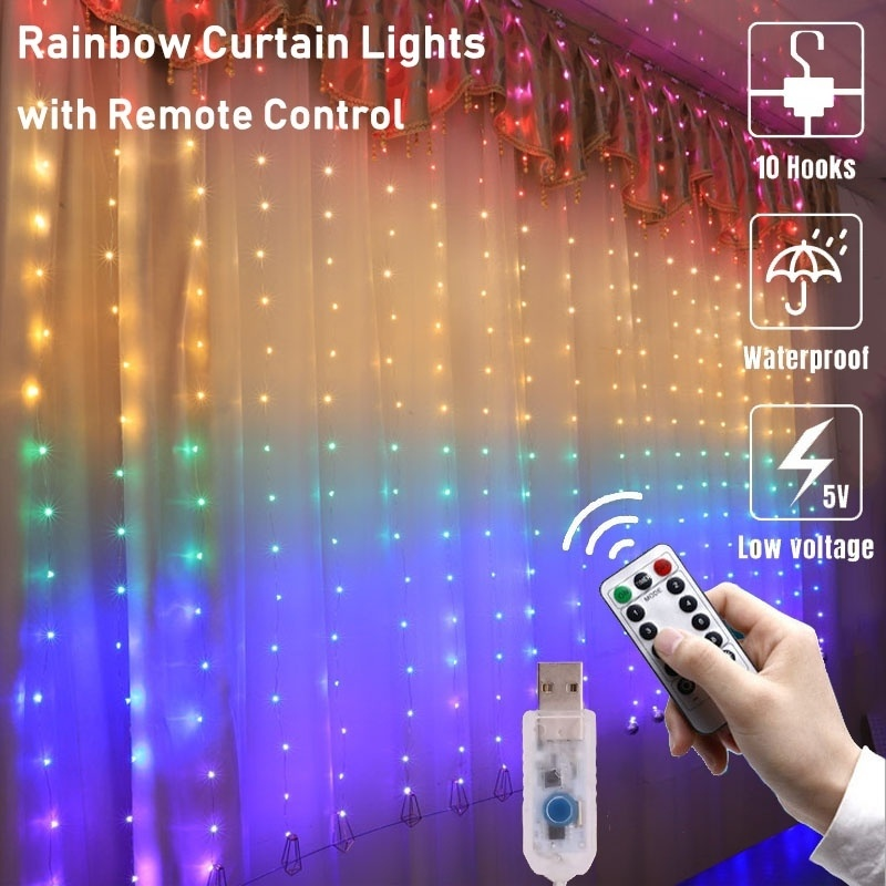LED Curtain Light Waterproof USB Copper Wire Fairy Light With Remote Control Outdoor Garland For Home Decoration Wedding Party