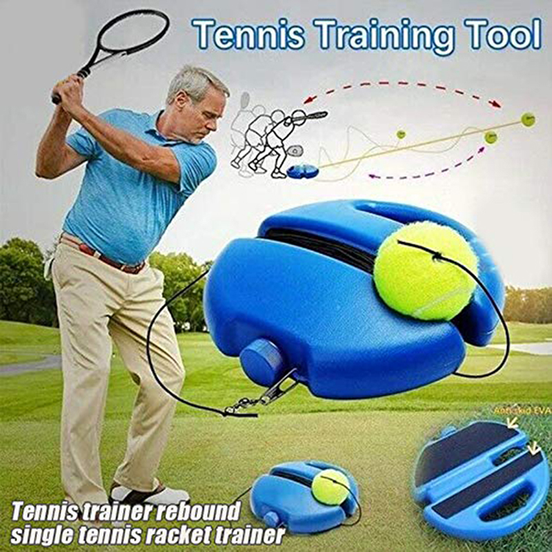 1 Set Tennis Trainer Tennis Base+Training  With Rope Durable Easy To Use Trainer Baseboard Sparring Device Tool