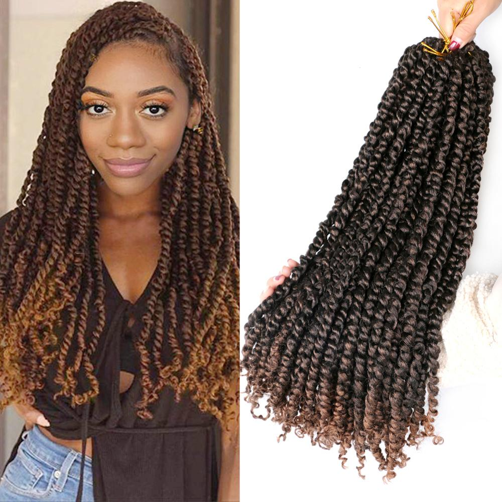 MTMEI HAIR Pre Twisted Passion Twist Crochet Hair 18 Inch Pre-looped Fluffy Synthetic Crochet Braids Hair Ombre Braiding Hair image