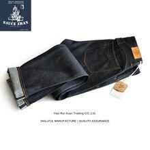 Molho de origem 916 vt japão okayama tecido selvedge jeans denim cru não lavado alta qualidade jeans retos japão azul jeans