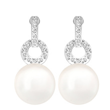 High Quality 1:1 SWA Best Material, Fashion Simple Women's Wear Temperament Large Pearl Earrings цена и фото