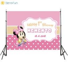 Buy Sensfun Pink Theme Minnie Birthday Party Backdrop Baby Shower White Polka Dots Girls Backgrounds Custom Name fondo fotografia directly from merchant!