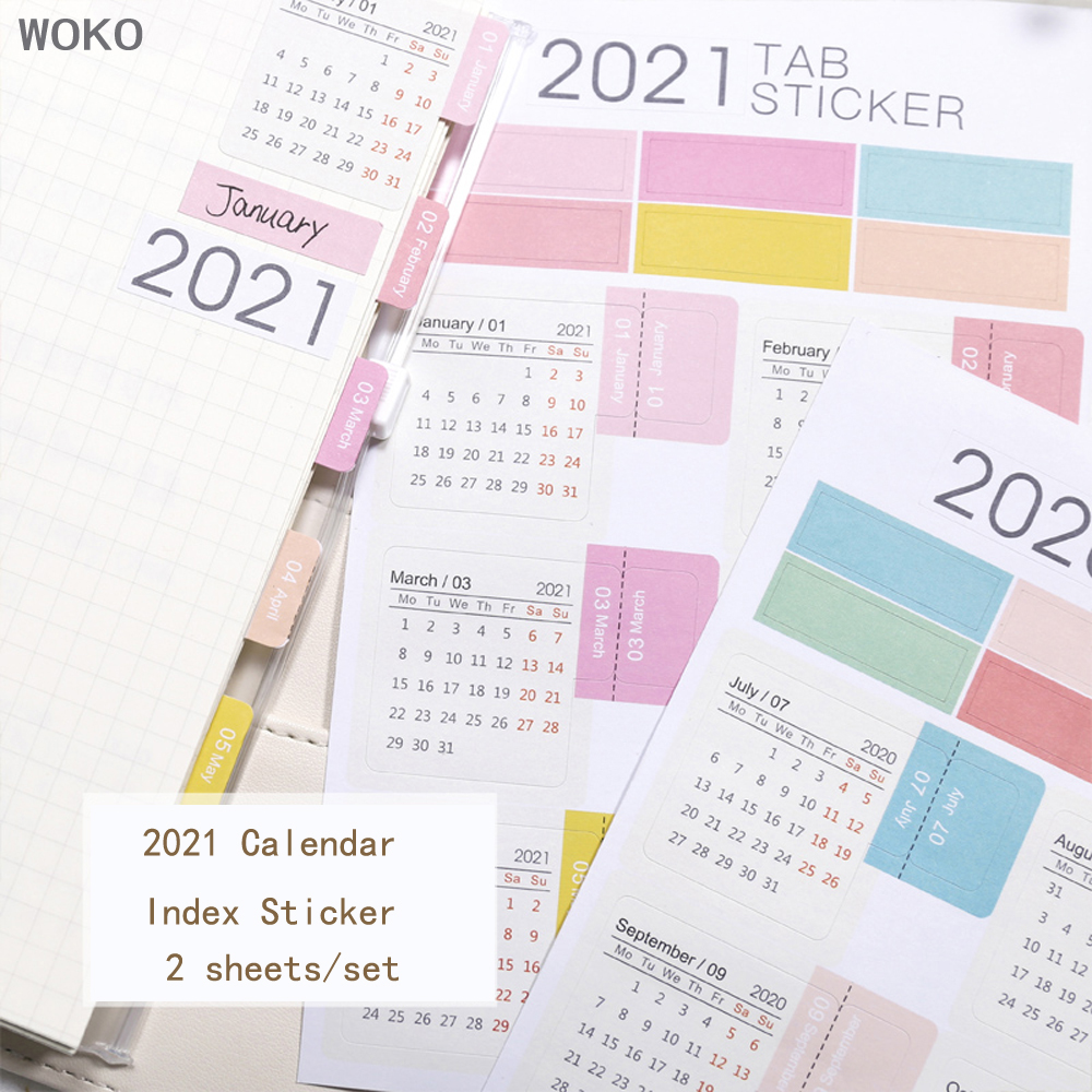 WOKO Simple 2021 Year Cartoon Can Write Calendar Index Label Sticker Notebook Index Monthly Label Sticker DIY Planner Notebooks