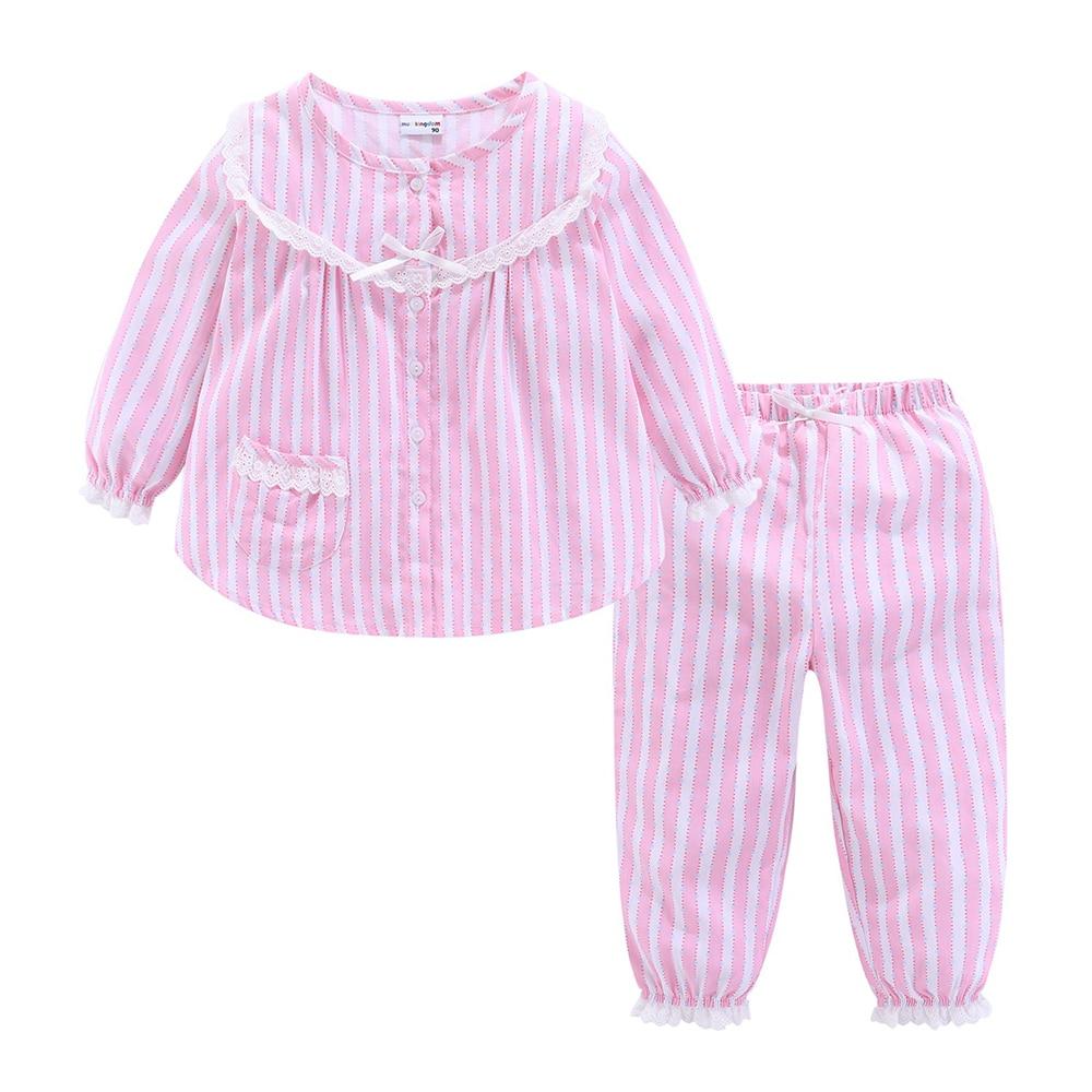 Mudkingdom Boutique Girls Pajama Sets Spring Autumn Cute Lace Striped Heart Toddler Pajamas Kids Sleepwear Sleeping Clothes 3