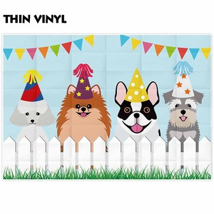 Image 2 - Allenjoy dogs birthday photographic backgrounds fence grass kids cartoon party decoration photocall boda photophone backdrop