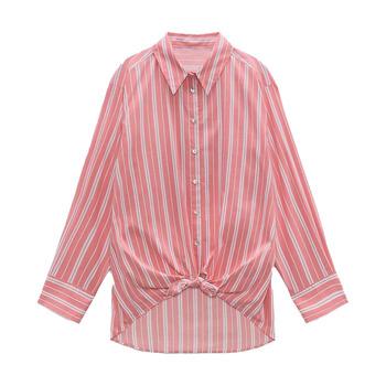 Za Women 2021 New Fashion Stripe bluzki Vintage długi guzik na rękawie ozdobny węzeł koszule damskie Blusas eleganckie koszule tanie i dobre opinie DiYiG WOMAN CN (pochodzenie) POLIESTER REGULAR Lato 2021 Lekki wyszywana Proste z włókien syntetycznych W paski 81 (włącznie)-90 (włącznie)