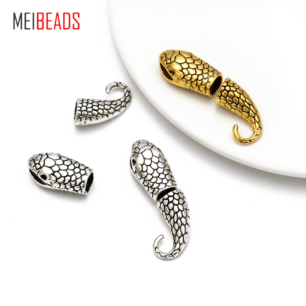 10pcs/lot Antique Silver Gold Snake Clasps Hooks End Cap Connectors For Necklace Bracelet Jewelry Making Inner Size 6.5*7mm