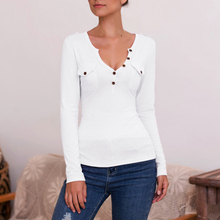 Fashion Button Long Sleeve T-Shirt Fake Pocket Asymmetric Casual Solid Color Top Sexy V-neck Women T Shirt Femme White Black 2XL