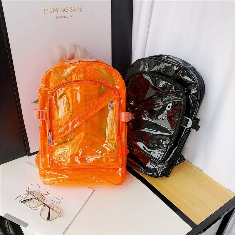 Womens Mens Clear Shoulder School Bag Transparent Travel Rucksack Jelly Backpack