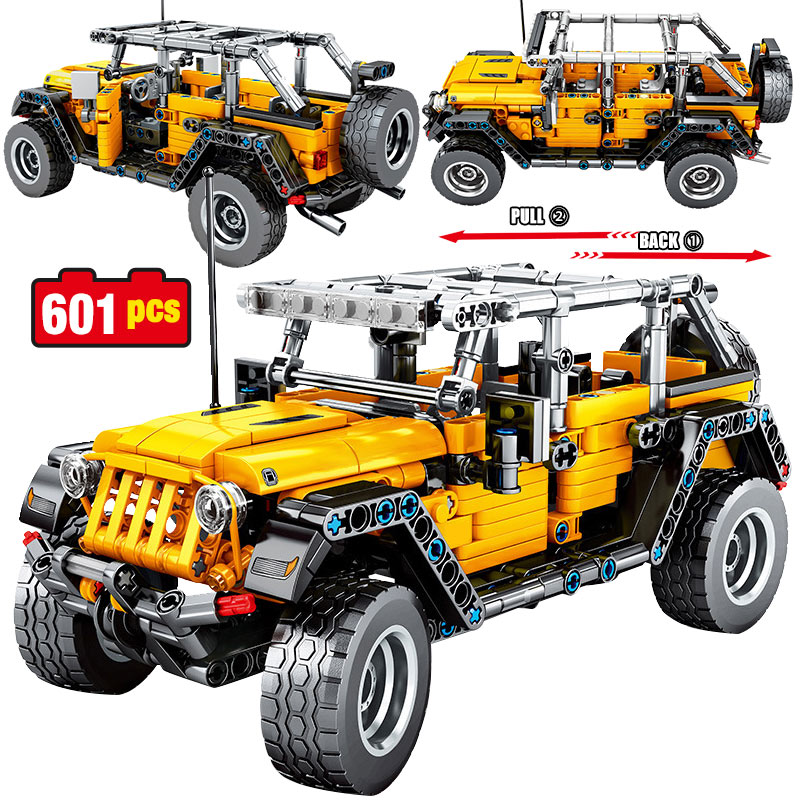 601pcs Technical  Creator Pull Back City Car Mechanical Jeeped Off-road Vehicle Model Building Blocks  Bricks Toys For Boys