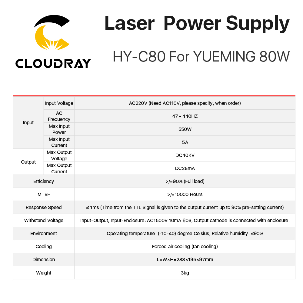 Cloudray HY-C80 CO2 lézer tápegység 80W YUEMING gravírozó / - Famegmunkáló gépek alkatrészei - Fénykép 3