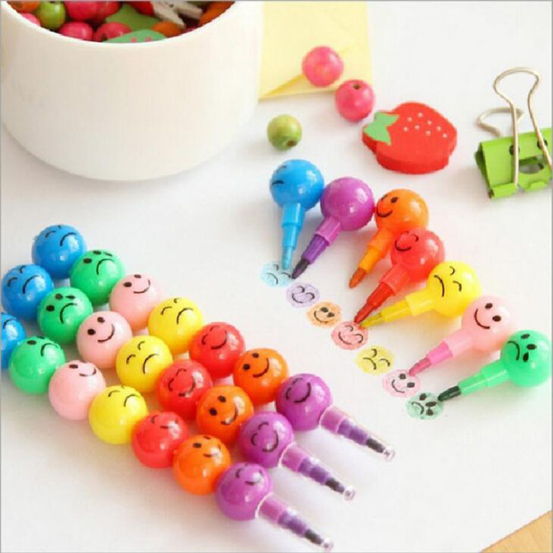 7 Color Crayons Cartoon Smiley Face Expression Candy Gourd Pen Children Students Painting Stationery School Office Supplies