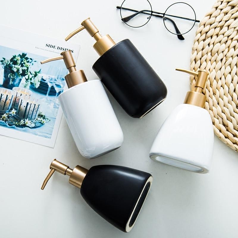Bathroom Accessories Nordic Home Ceramic Soap Dispenser Press-type Hand Sanatizer Dispenser Shampoo Lotion Bottle Zeepdispenser 1