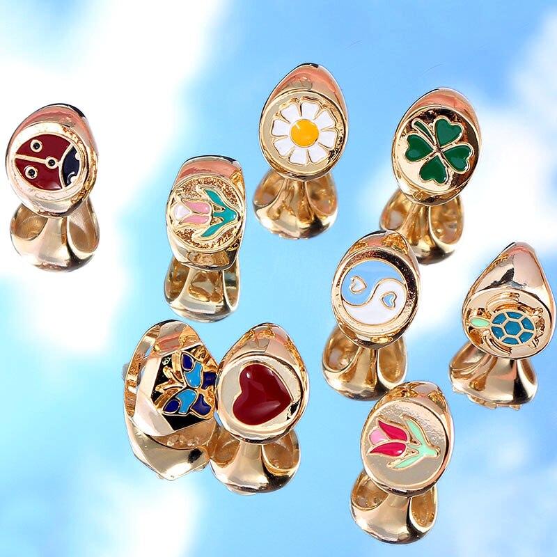 Женское эмалированное кольцо JUST FEEL, металлическое кольцо золотого цвета в стиле панк с изображением маргаритки, тюльпана, черепахи, бабочки...