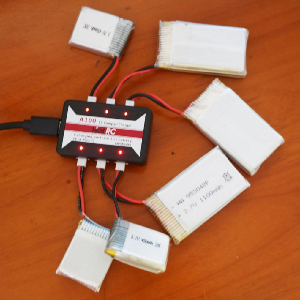 HotRc A100 6 in 1 3.7V Lipo <font><b>Battery</b></font> Charger With Over Temperature Protection For <font><b>Hubsan</b></font> X4 Q4 H107L <font><b>H107C</b></font> WLtoys image