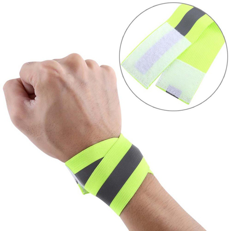 1 Pair(2pcs)  Set Autumn Outdoor Running Night Sports Cycling Reflective Wrist Ankle Straps Emergence Safety Warning Bands T