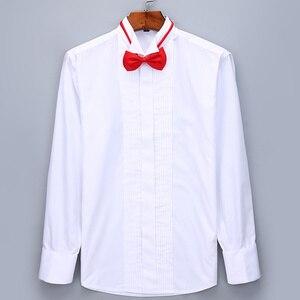 Image 2 - Camisas de esmoquin para hombre, Vestido de manga larga para boda, gemelos franceses, dobladillo con diseño de botones oscuro, camisa de caballero blanca, roja, negra