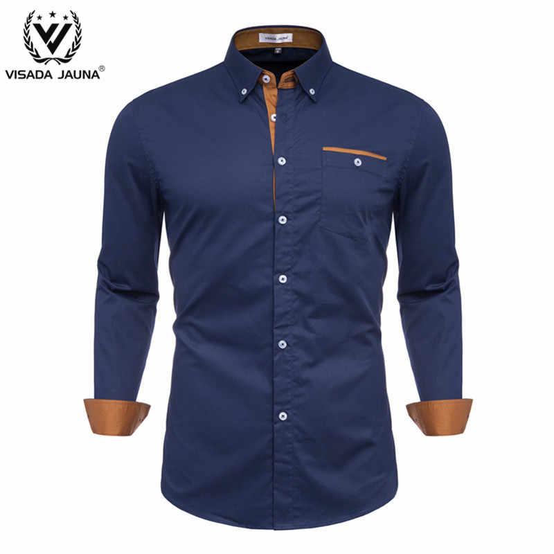 VISADA JUANA 2019 PLUS ขนาดชายเสื้อลำลองแขนยาว CLASSIC MENS ชุดเสื้อสีเขียวสีฟ้า 100% ผ้าฝ้าย