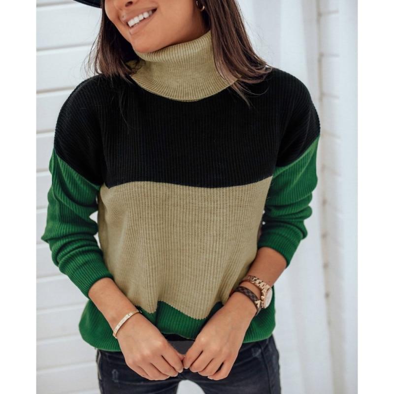 Women High Neck Turleneck Sweaters Ladies Jumper Pullover Tops Knitwear Womens Loose Knit Sweater