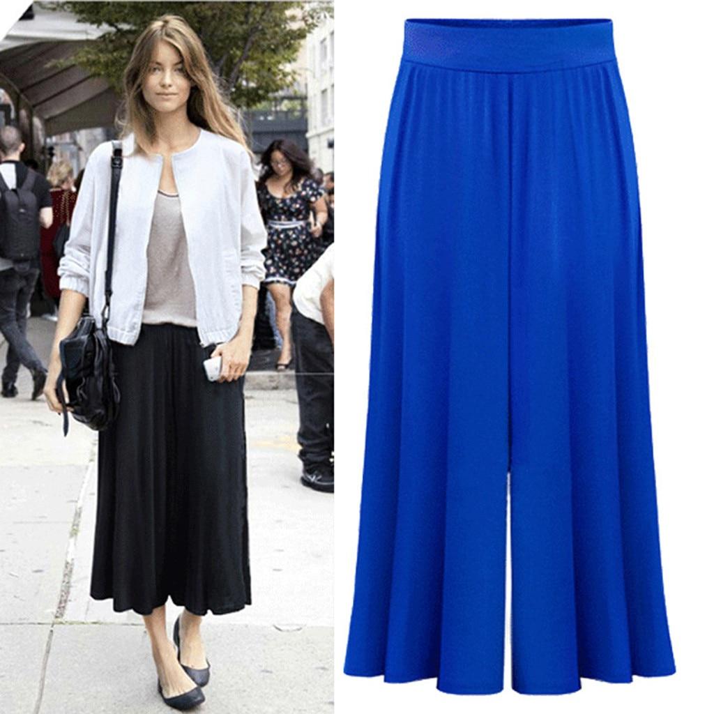pantalon femme ete Womens Casual Loose Elastic Waist Plus Size Trouser Stripe Wide Leg Pants pantalones de mujer