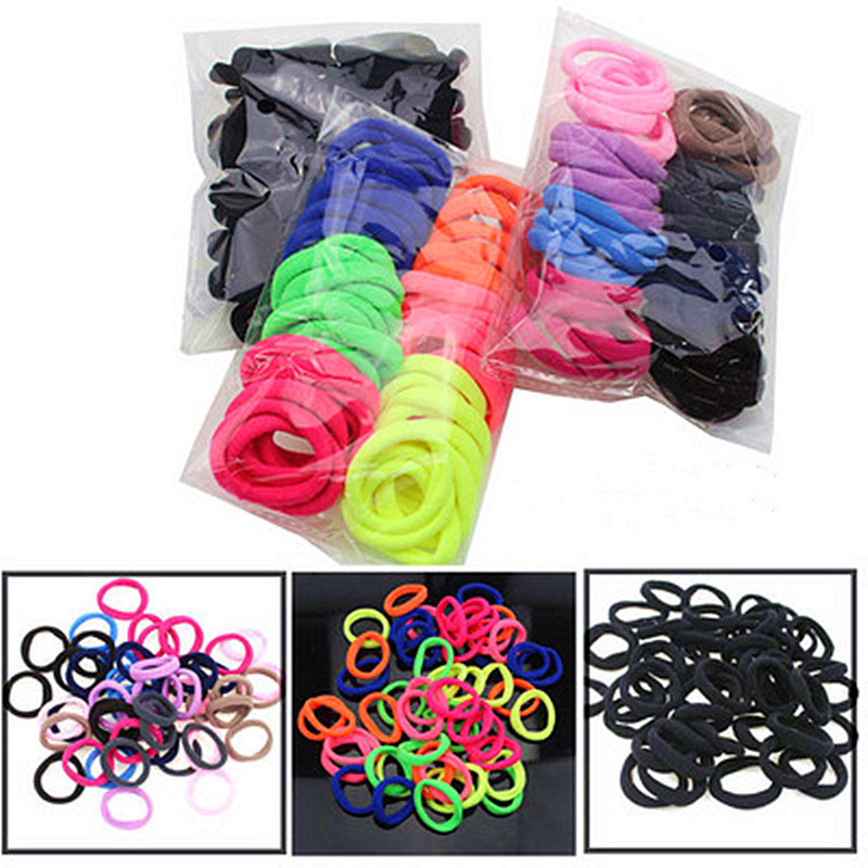 50pcs/Bag Girl Braider Candy Color Elastic Hair Ties Band Rope Ponytail Bracelet Hair Holder