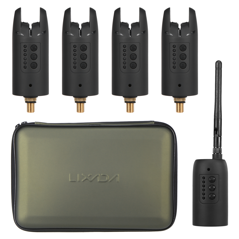 Lixada Fishing Bite Alarm And Swinger Set Set Fishing Bite Wireless Digital Sound Alert Kit Changeable Color LED Alarm