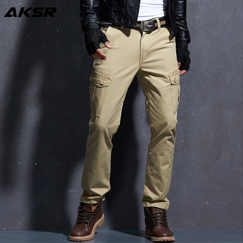 AKSR Men's Casual Solid Color Cargo Pants with Pockets Large Size Flexible Tactical Pants Streetwear Track Pants Overalls Men