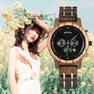 Image 1 - BOBO VOGEL Top Luxus Marke Uhr Frauen relogio feminino Datum Display Armbanduhren Zeitmesser Uhr Stop Funktionale saat
