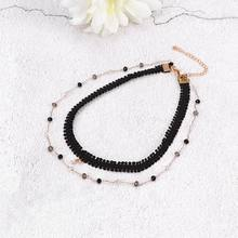 Fashion Simple Crystal Double Layer Necklace Ornament Temperament Clavicle Chain Alloy Material Necklace Collar Chain 1Pc(China)