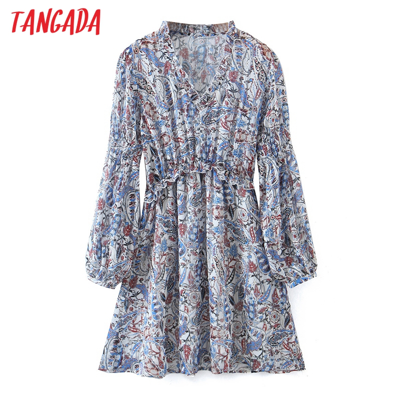 Tangada-vestido de fiesta de manga larga con volantes, minivestido con estampado de flores para mujer, escote en v, SL156