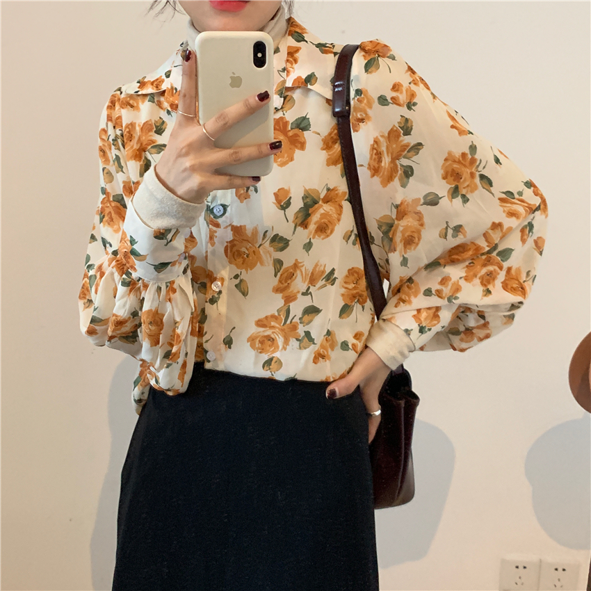 Spring New Women Chiffon Print Blouse Shirt Puff Sleeve Female Office Shirts Lady Blousa Outfits