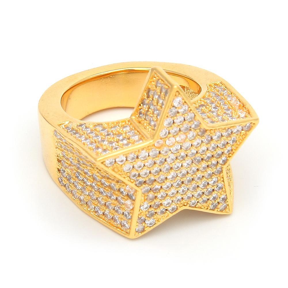 Zciti mode étoile anneaux or argent couleur pleine glace cubique zircone Hip Hop anneau bijoux pour hommes et femmes livraison directe