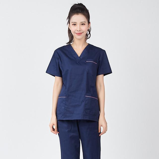 2020 Summer Women Hospital Medical Scrub Clothes Set Fashionable Design Slim Fit Dental Scrubs Beauty Salon Men Nurse Uniform